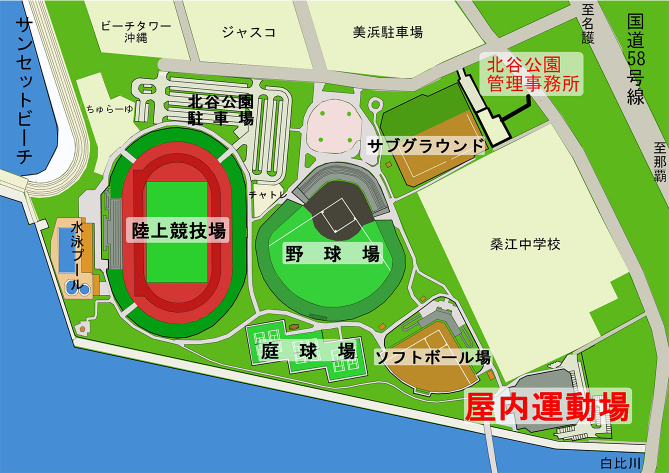 北谷ドーム(屋内運動場) 施設配置図