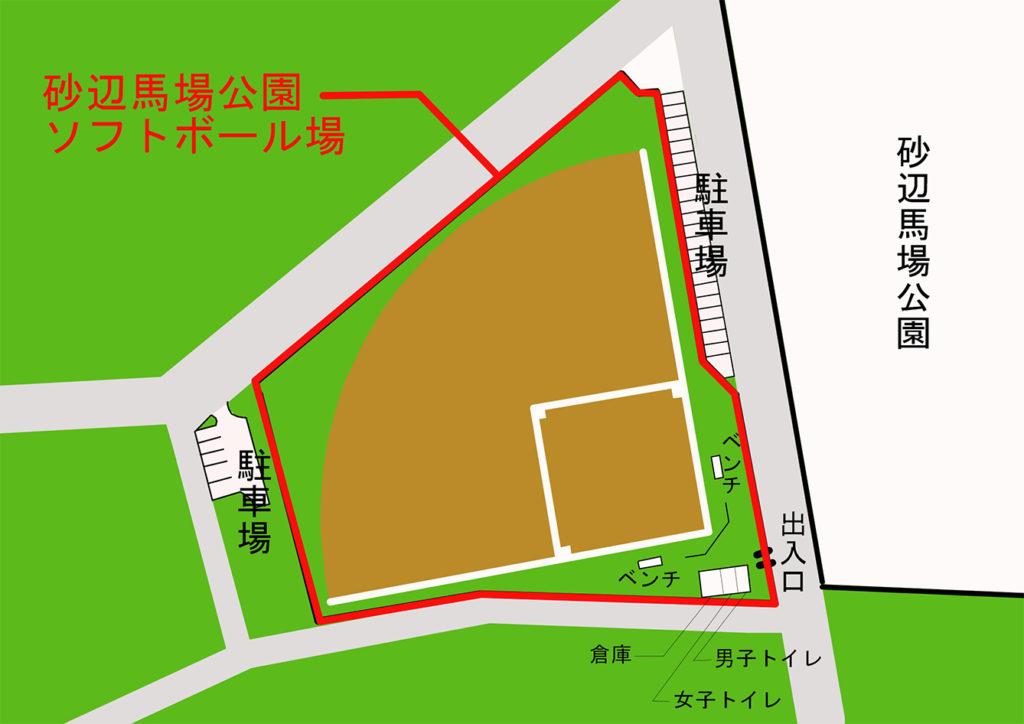 砂辺馬場ソフトボール場 施設配置図